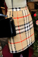 Straight-Cut Check Pattern Skirt