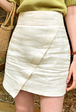 Asymmetric Hem Mini Linen Skirt