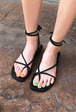 Strappy Wraparound Low Heel Sandals