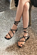 Toe Loop Strappy Wraparound Sandals