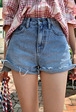 Raw Hem Side Slit Denim Shorts